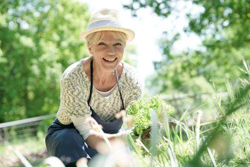 Woman gardening after cataract surgery