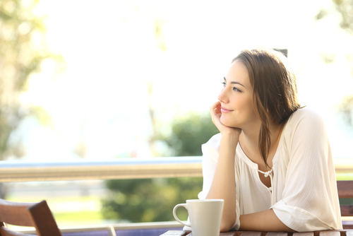 Young woman relaxing after LASIK